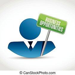 affari, avatar, opportunità, segno