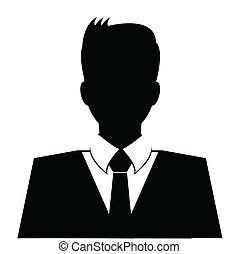 affari, avatar, profilo, in, nero