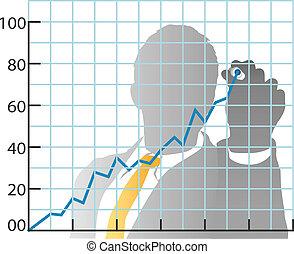 affari, azione, curva delle vendite, disegno, mercato, uomo