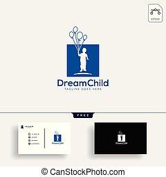 affari, bambino, illustrazione, creativo, vettore, sagoma, logotipo, sogno, scheda