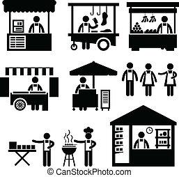 affari, bancarella, negozio, cabina, mercato