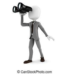 affari, binoculare, ricerca, opportunità, presa a terra, ...