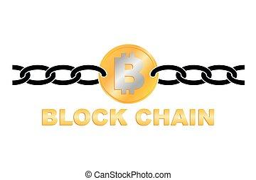 affari, blocco, catena, logotipo, illustration.