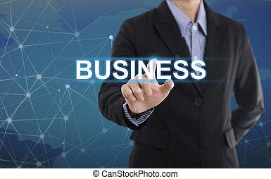 affari, bottone, affari, virtuale, segno, urgente, schermo, uomo affari, mano, concetto