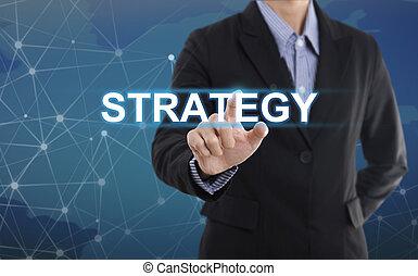 affari, bottone, schermo, virtuale, segno, strategia, urgente, uomo affari, mano, concetto