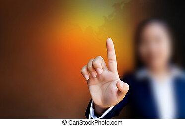 affari, bottone spingendo, mano, tocco, interfaccia, schermo, donne