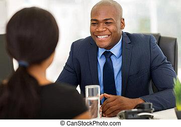 affari, businesspeople, americano, africano, riunione, detenere