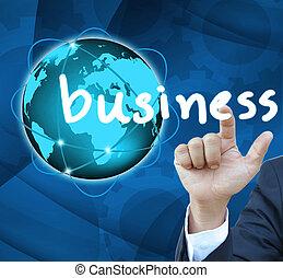 affari, bussinet, bottone, mano, contatto, uomo