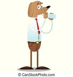 affari, cane, vetro acqua, bottle., bere