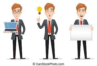 affari, carattere, capelli, biondo, cartone animato, uomo