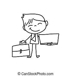 affari, carattere, disegno, persona, mano, cartone animato