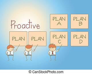 affari, carattere, soluzione, piano, cartone animato, proactive, uomo