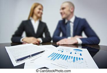 affari, carte, a, posto lavoro