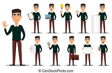 affari, cartone animato, set, uomo, carattere