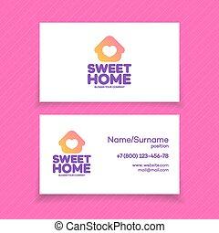 affari casa, scheda, logotipo