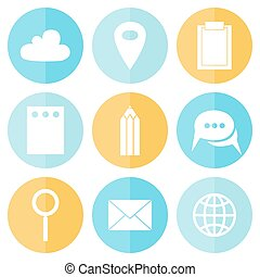 affari, cerchio, appartamento, icone