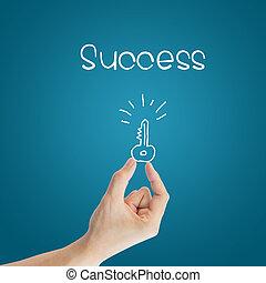 affari, chiave, successo, mano