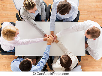 affari, cima, mani in alto, squadra, chiudere