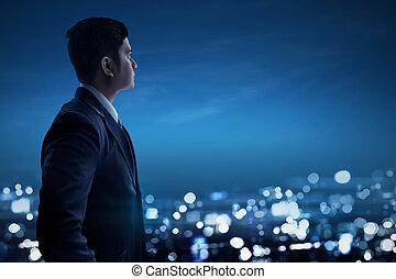 affari città, dall'aspetto, asiatico, notte, uomo