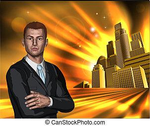 affari città, fondo, uomo