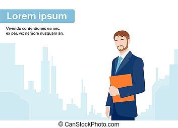 affari città, sopra, esecutivo, grattacielo, uomo affari, uomo