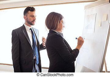 affari, collaboratore, lavorando, uno, flipchart