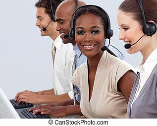 affari, colleghi lavoro, esposizione, centro chiamata, ...