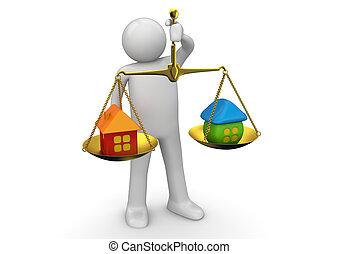 affari, collezione, -, pesare, beni immobili, offerte