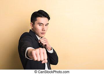 affari, combattimento, uomo