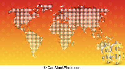 affari, con, mappa mondo, fondo, vettore