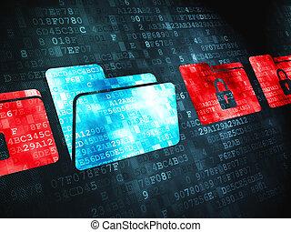 affari, concept:, cartella, con, lucchetto, su, sfondo digitale