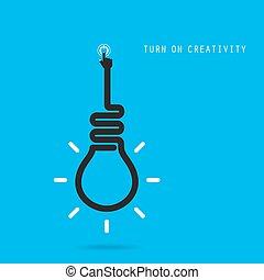 affari, concept., creativo, bulbo, luce, turno, idea, educazione