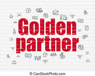 affari, concept:, dorato, socio, su, parete, fondo