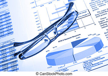 affari, concept., eyewear, report., stampato, srock