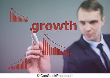 affari, concept., grafico, strategia, crescita, uomo affari, disegno