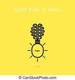 affari, concept., logotipo, creativo, cervello, icona, bulbo, luce, fondo., idea, concetto, educazione