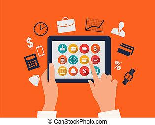 affari, concept., mani, toccante, uno, tavoletta, con, appartamento, icons., vettore