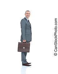 affari, consigliere, brie, completo, legale, sorridente, qualificato