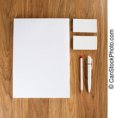 affari, consist, legno, pencil?, fondo., penna, letterheads, a4, vuoto, stationery, cartelle