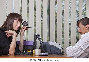 affari, conversazione, in, ufficio