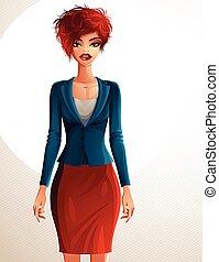 affari, corpo, sexy, coquette, bello, presa a terra, persone, illustrazione, magro, ritratto, pieno, rosso-dai capelli, mani, carino, giovane, woman., waist., lei, signora, espressione, femmina