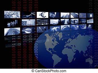 affari, corporativo, mappa mondo, multiplo, schermo