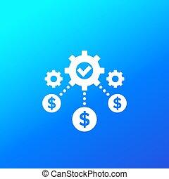affari, costi, icona, efficienza, optimization