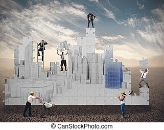 affari, costruisce, insieme, squadra