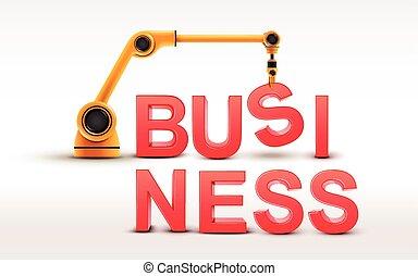 affari, costruzione, industriale, braccio robotizzato, parola