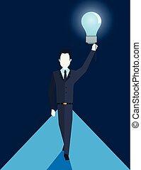 affari, creatività, idea, presa a terra, uomo affari, bulbo