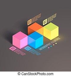affari, cube., infographics