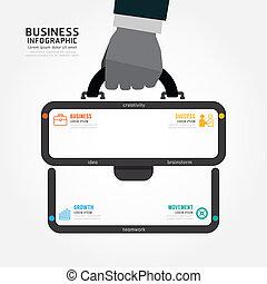 affari, di, sacco mano, vettore, disegno, infographics, uomo affari, presa