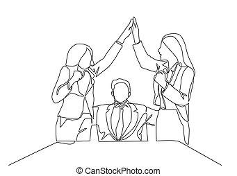 affari, disegnare, affare, festeggiare, direttore, cinque, gruppo, gesture., assistente, scopo, continuo, giovane, disegno, uno, concetto, alto, due, linea, disegno, vettore, illustrazione, successive, loro