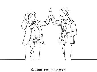 affari, disegnare, uomini affari, gesto, affare, festeggiare, insieme., cinque, scopo, continuo, giovane, disegno, uno, concetto, alto, due, linea, disegno, vettore, illustrazione, successive, loro, felice